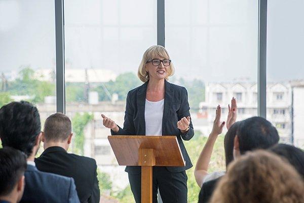 female speaker presenting